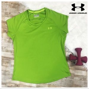 Under Armour Heat Gear Athletic Top Green Shirt